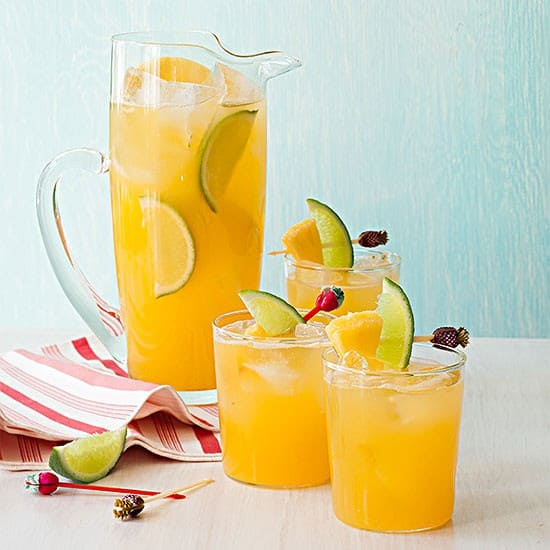 Pineapple-lime-cooler. A party isn't a party without some crowd pleasing cocktails. Save your sanity at your next party by having a few of these make-ahead big batch cocktails mixed and ready to serve. Click here to check out these delicious big batch cocktail recipes now.