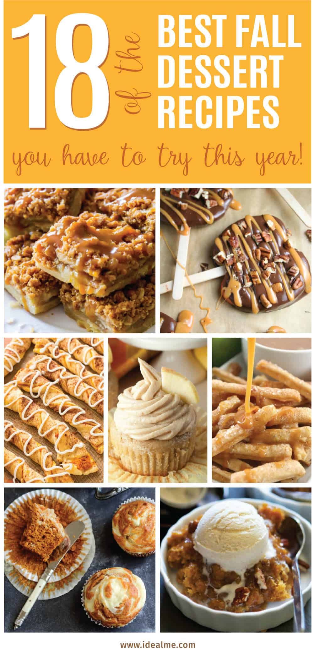 These Fall recipes are perfect for the holidays and for any time you want to bring the delicious smells of apple, cinnamon, and pumpkin into your home. You're guaranteed to find a fall flavor you love with these 18 delicious fall dessert recipes.