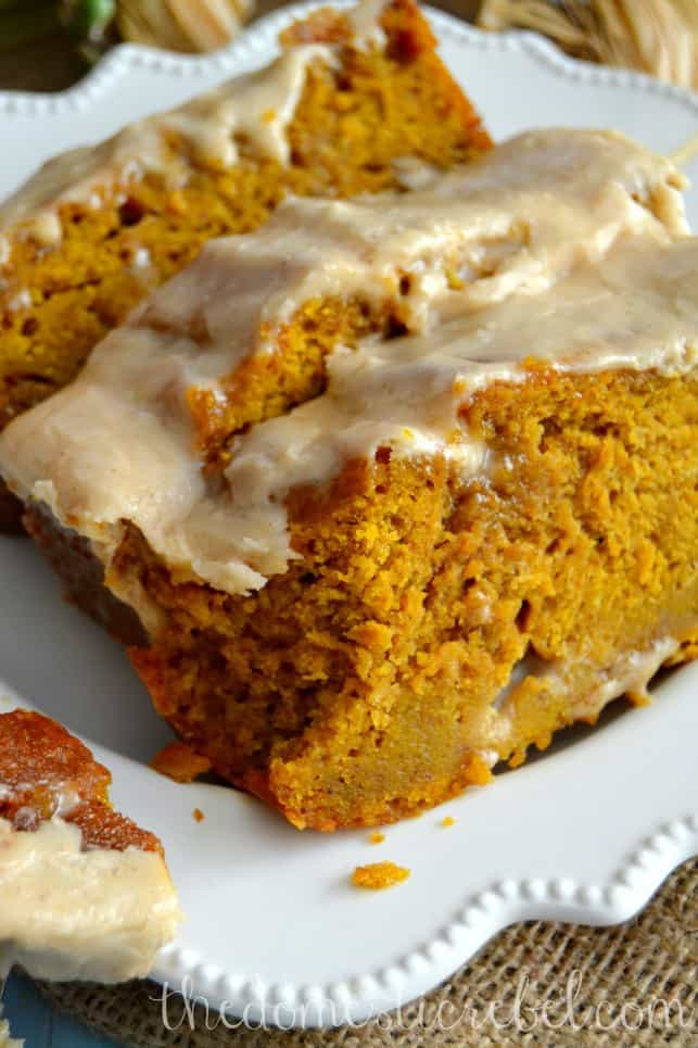 Pumpkin Bread with Brown Butter Maple Icing - These Fall recipes are perfect for the holidays and for any time you want to bring the delicious smells of apple, cinnamon, and pumpkin into your home. You're guaranteed to find a fall flavor you love with these 18 delicious fall dessert recipes.