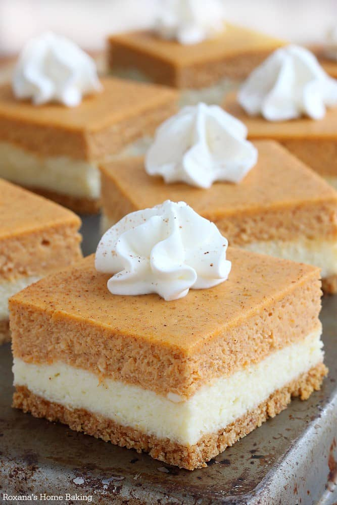 Pumpkin Cheesecake Bars - These Fall recipes are perfect for the holidays and for any time you want to bring the delicious smells of apple, cinnamon, and pumpkin into your home. You're guaranteed to find a fall flavor you love with these 18 delicious fall dessert recipes.