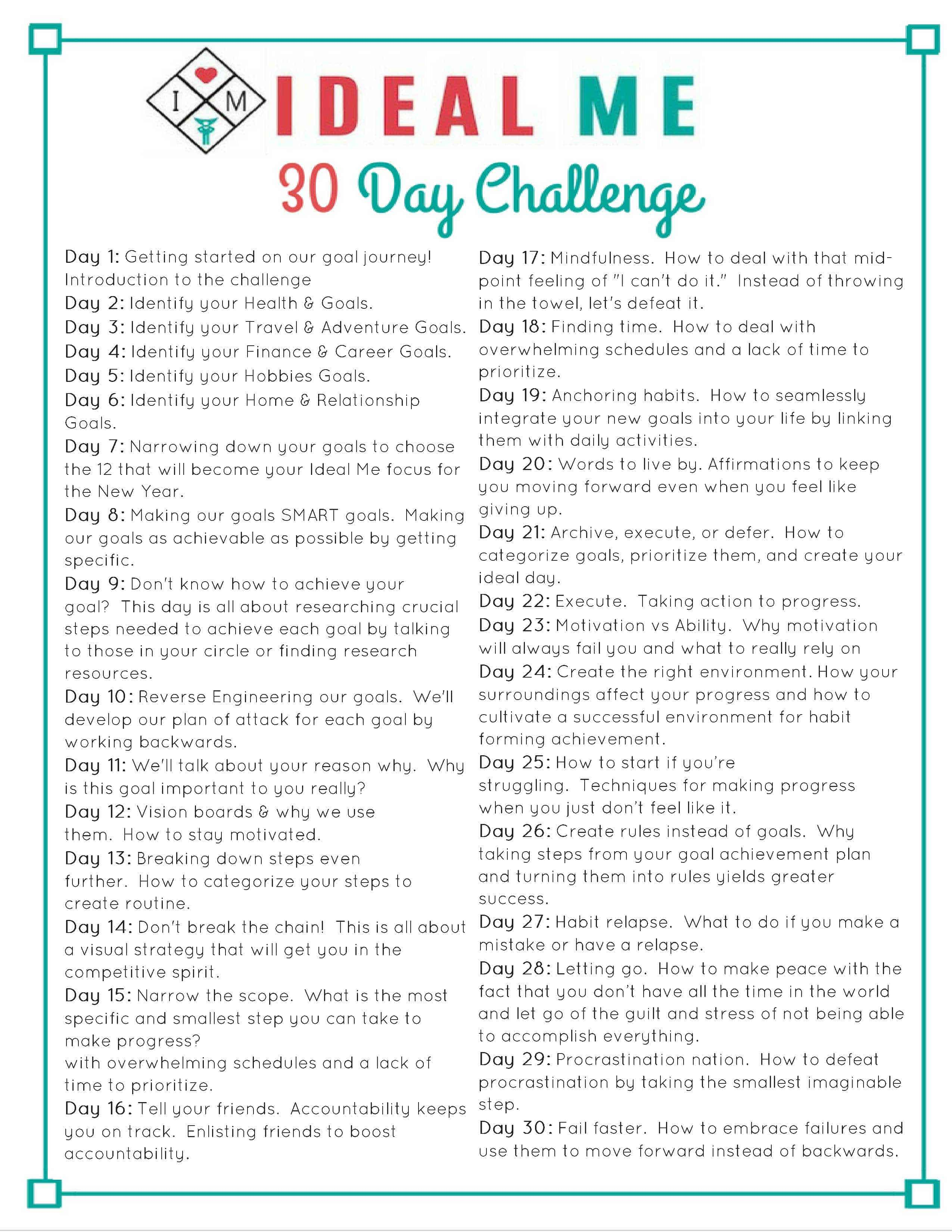 Introducing The 30 Day Ideal Me Challenge Ideal Me