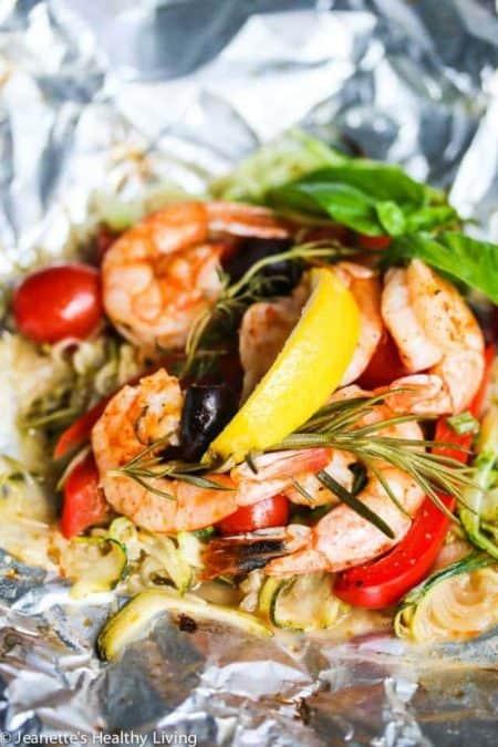 Grilled Mediterranean Shrimp with Zucchini Noodles