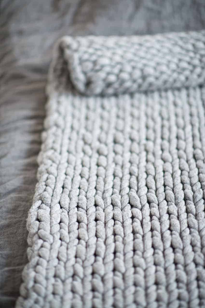Hand Knit Blanket Chunky Easy