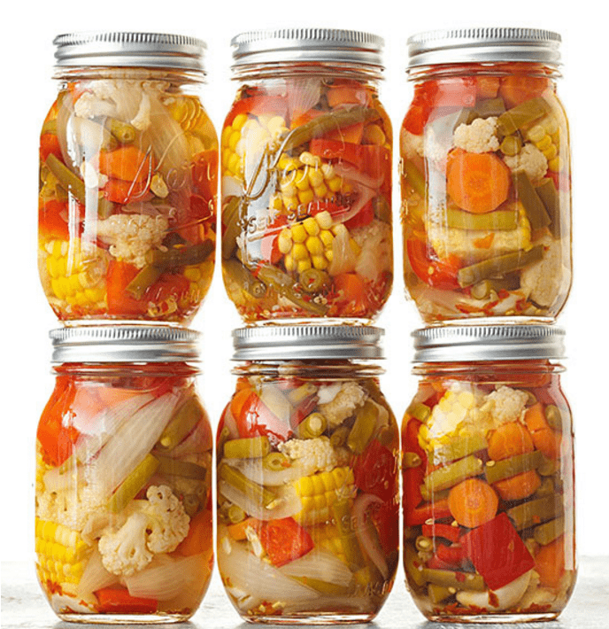 Garlicky Pickled Mixed Veggies - recipe canning vegetables