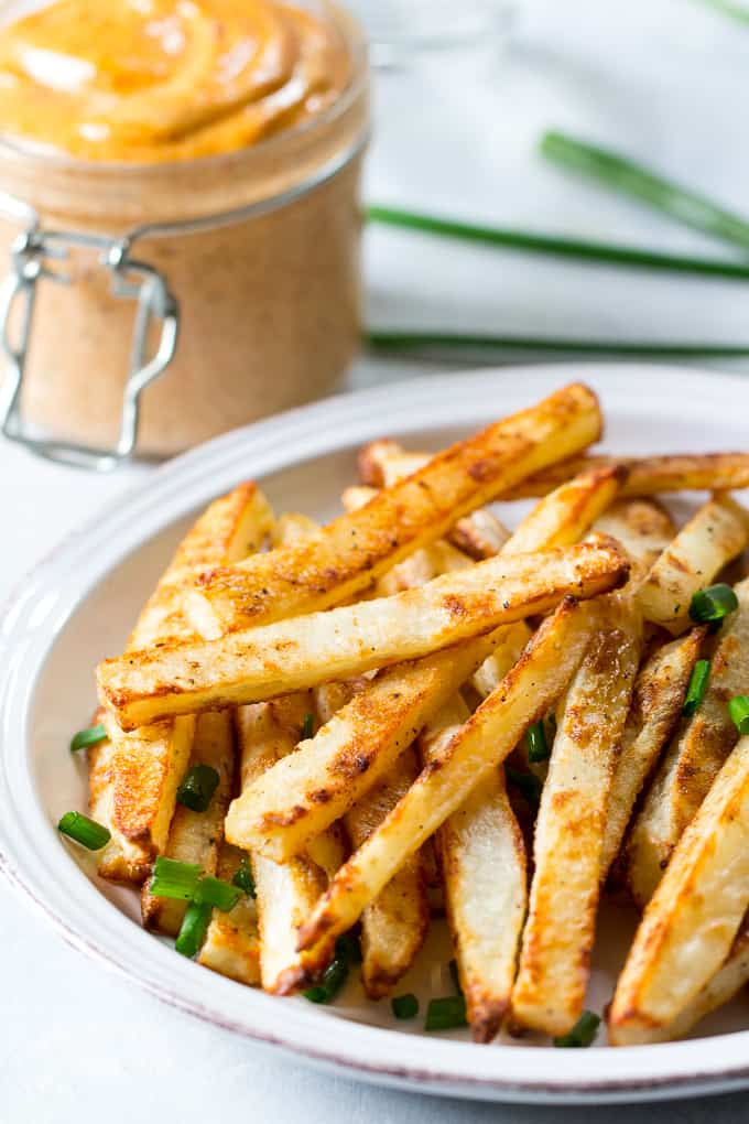 baked french fries with chipotle ranch dip - whole 30 snacks