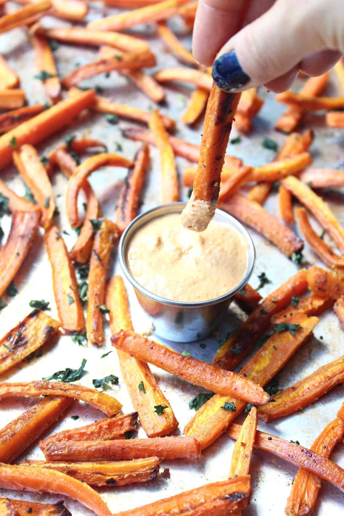 carrot fries with curry dip - whole 30 snacks