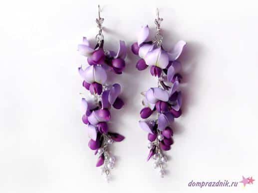 clay polymer wisteria flower earrings Jewelry