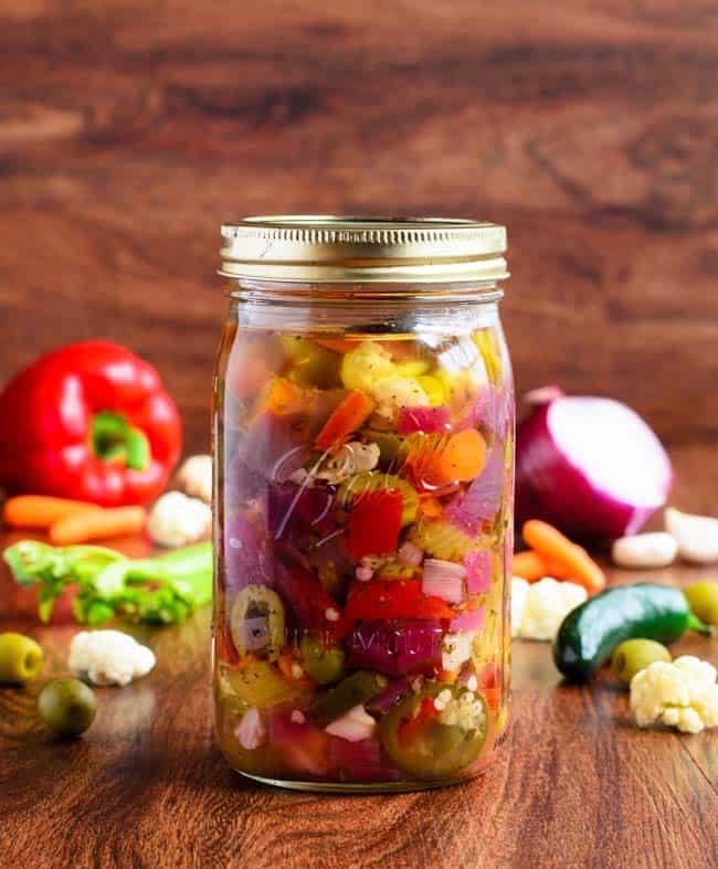 Italian giardiniera - recipe canning vegetables