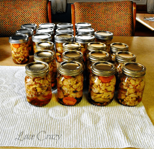 pickled cauliflower - recipe canning vegetables