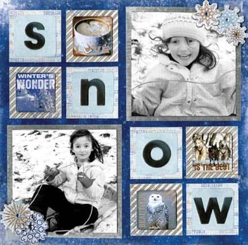 winter snow - scrapbook layout ideas