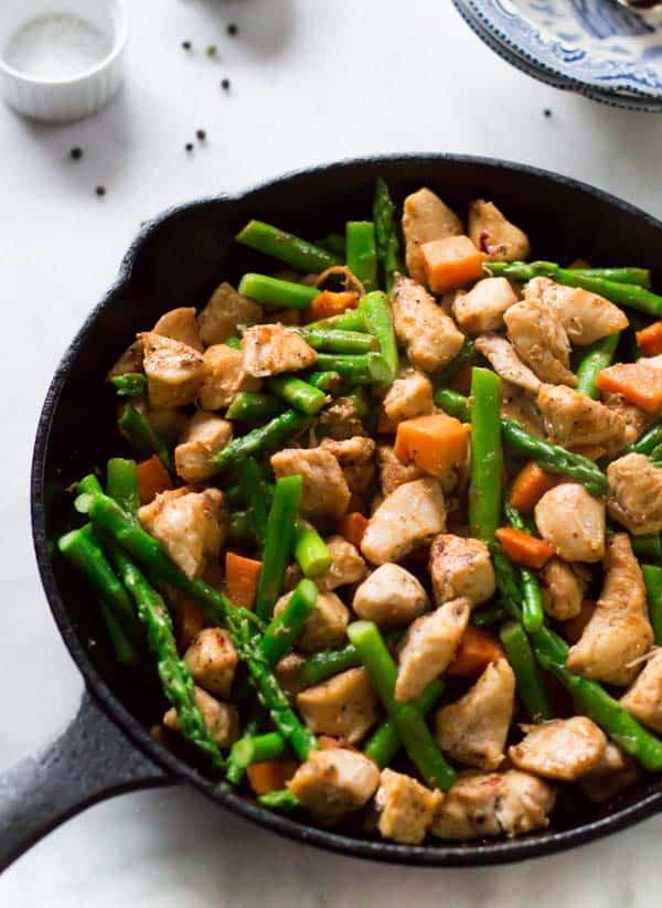 Asparagus Sweet Potato Chicken Skillet - quick paleo recipes