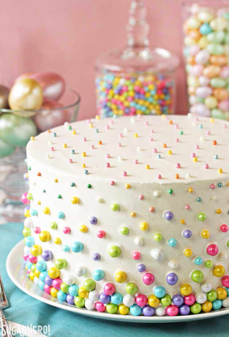 Easter Polka Dot Cake - birthday cake decorating ideas