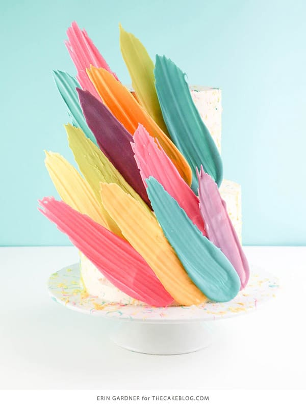 Feather Brushstroke Cake - birthday cake decorating ideas