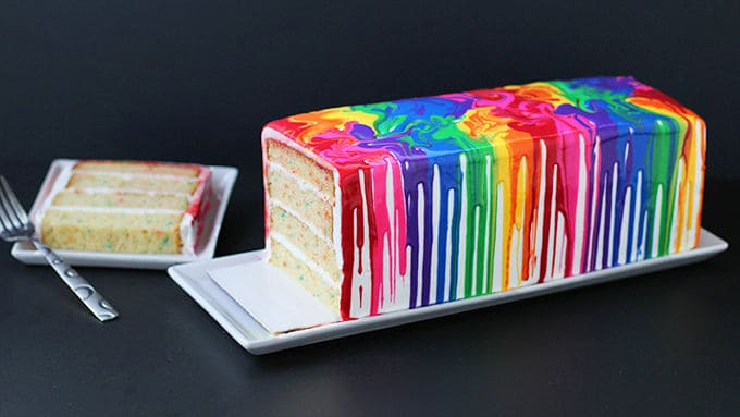 Melted Rainbow Cake - birthday cake decorating ideas