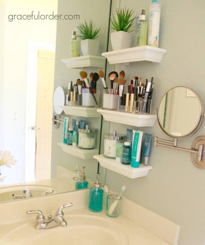bathroom sink shelving - easy storage ideas