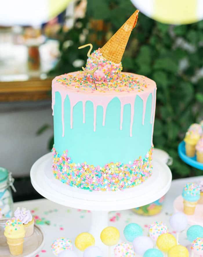 ice cream cone drip - kids birthday cake ideas