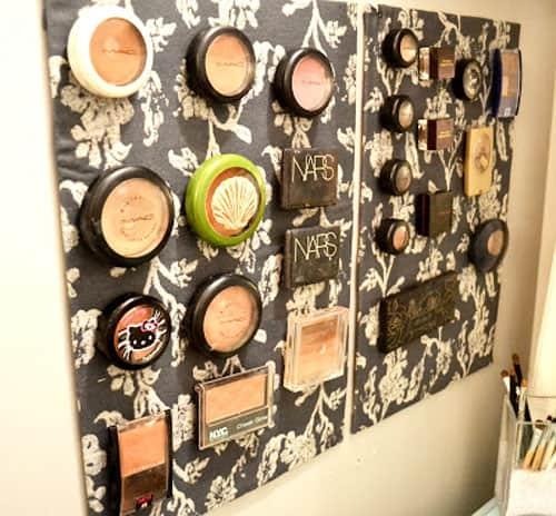 magnetic makeup storage - easy storage ideas