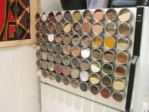 magnetic spice rack - easy storage ideas