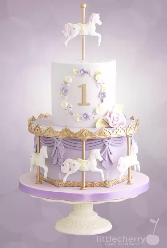 pastel carousel cake - kids birthday cake ideas