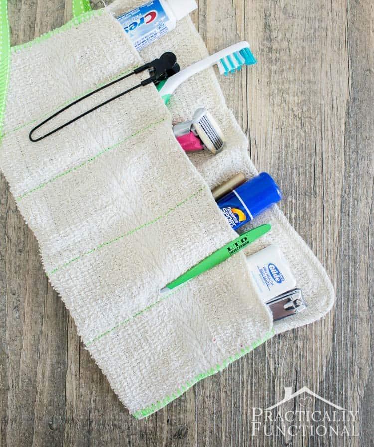 washcloth travel kit - easy travel hack