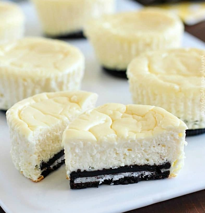 Lighter Mini Cheesecakes with Oreo Crust - easy healthy desserts