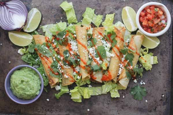 Black Bean Flautas with Avocado Dipping Sauce - gluten free meals