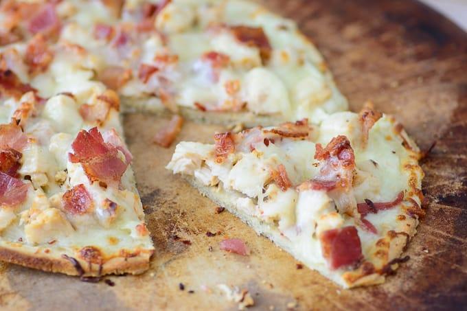 Chicken Alfredo Flatbread with Bacon - gluten free meals
