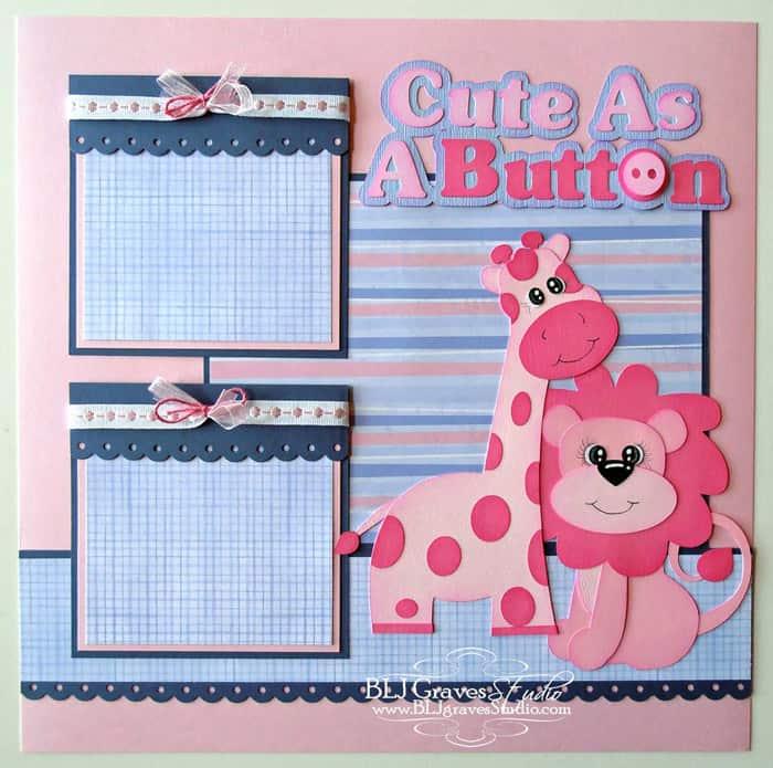 Cute as a Button - scrapbook templates