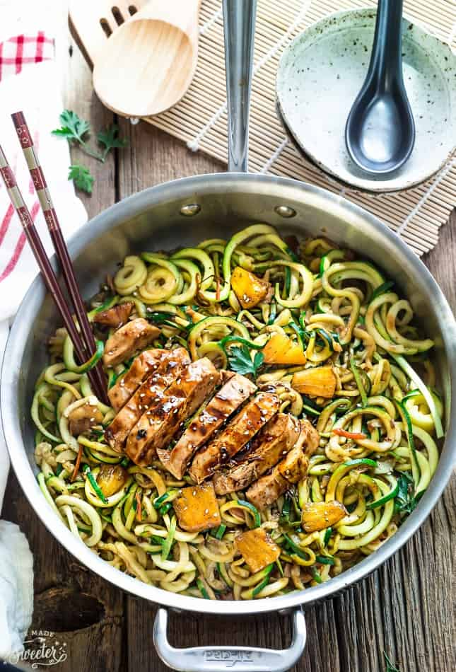 One Pan Teriyaki Chicken Zoodles {Zucchini Noodles} - gluten free meals