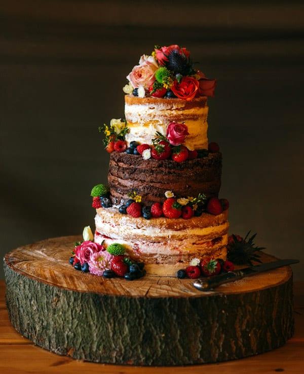 Berries and Flowers Naked Wedding Cake - wedding cake decorating ideas