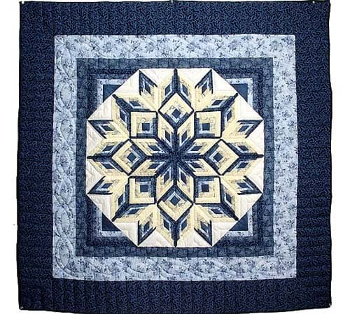 Blue and Yellow Diamond Log Cabin Throw - country quilts