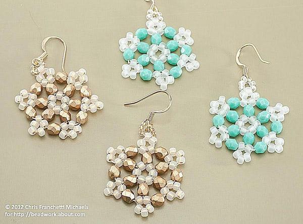 Crystal Beaded Snowflake Earrings - jewelry ideas