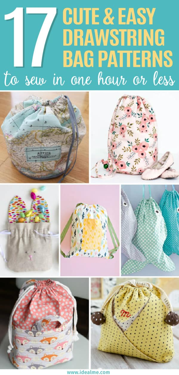 Check out these 17 easy drawstring bag patterns to sew in one hour or less. Soon you'll be making drawstring bags like crazy with these fantastic tutorials.