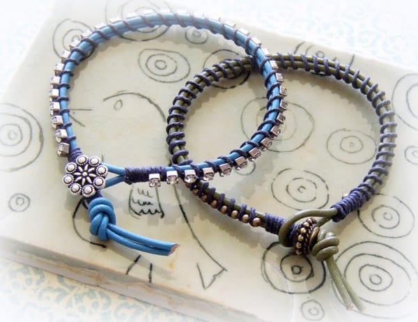Lashed Rhinestone and Leather Bracelet - jewelry ideas
