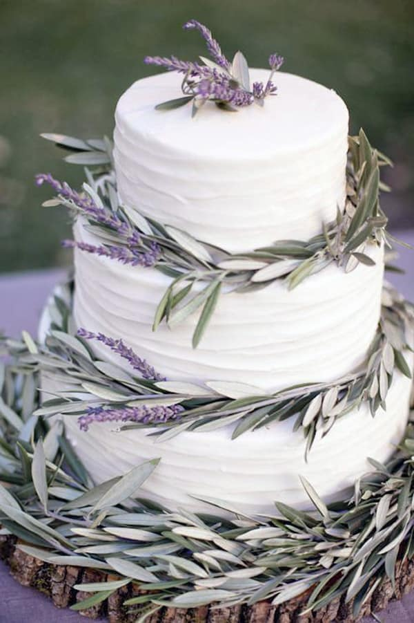 Lavender and Olive Branches - wedding cake decorating ideas