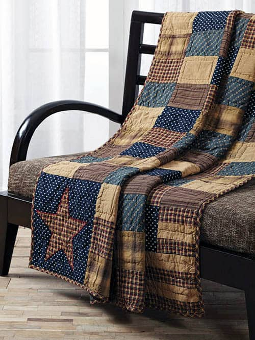 Patriotic Patch Quilted Throw - country quilts