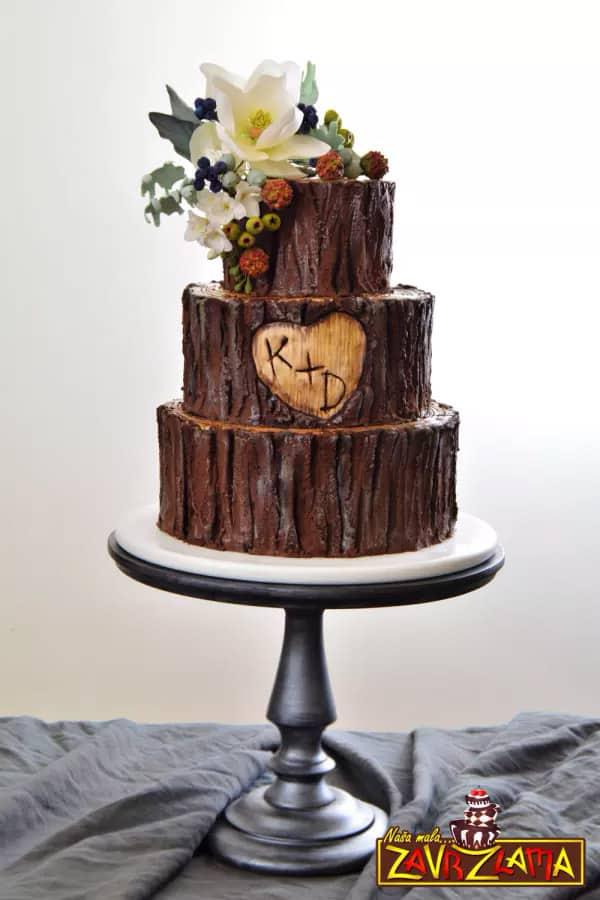 Rustic Tree Cake - wedding cake decorating ideas