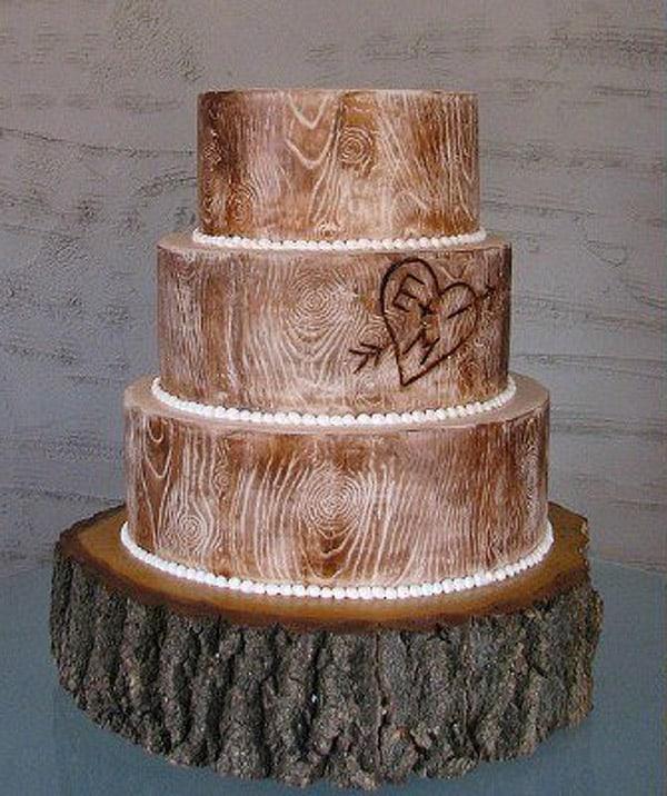 Rustic Wood Wedding Cake - wedding cake decorating ideas