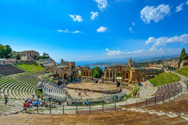 Theatre Sicily Italy Taormina Theater Greek Ruins
