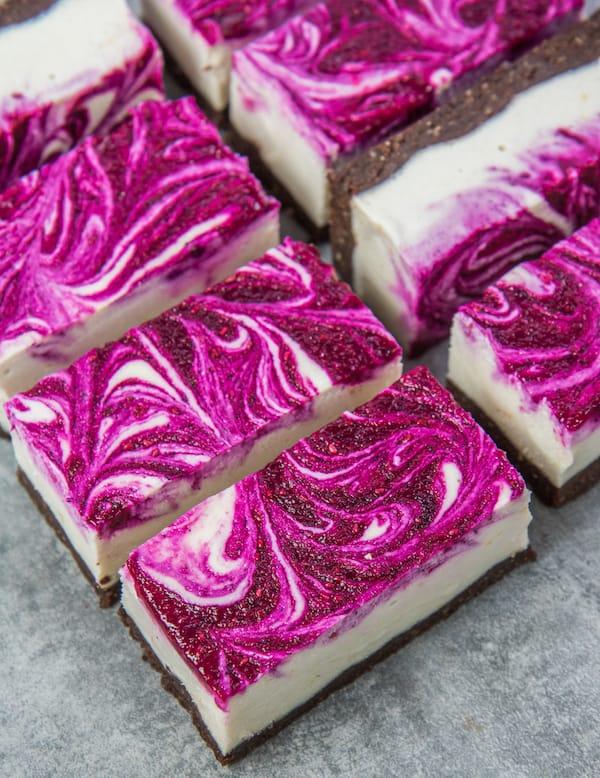 Vegan Dragon Fruit Cheesecake Bars - gluten-free desserts