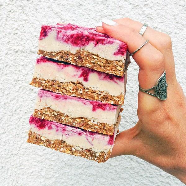Vegan Raspberry Cheesecake Bars - gluten-free desserts