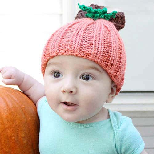 Baby Pumpkin Hat - hat knitting patterns