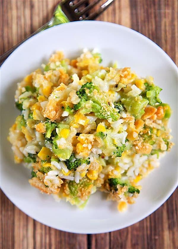 Corn and Broccoli Rice Casserole - gluten-free casseroles