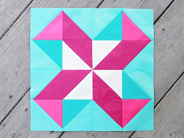 Lucky Pieces Quilt Block - pinwheel quilt patterns
