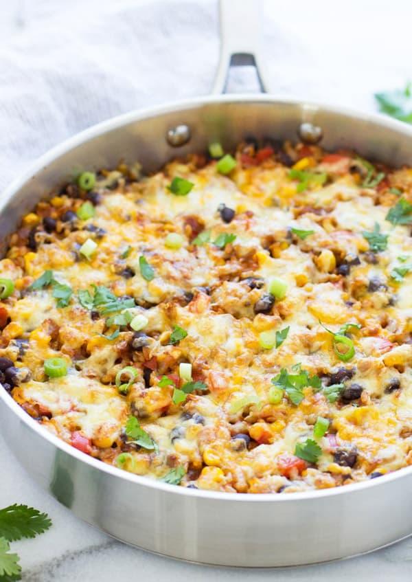 One Skillet Mexican Rice Casserole - gluten-free casseroles
