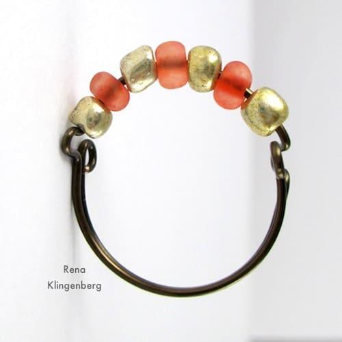 Seed Bead Adjustable Wire Ring - simple diy rings