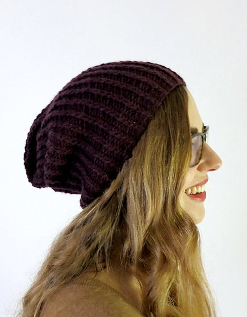 Simple Slouchy Hat - hat knitting patterns