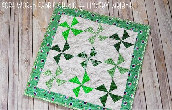 St. Patty's Day Pinwheels Mini Quilt - pinwheel quilt patterns