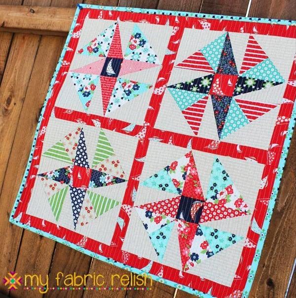 Wind Sail Mini Quilt - pinwheel quilt patterns