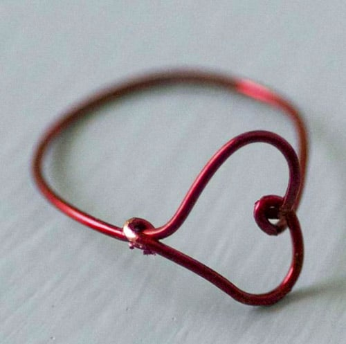 Wire Heart Finger Ring - simple diy rings